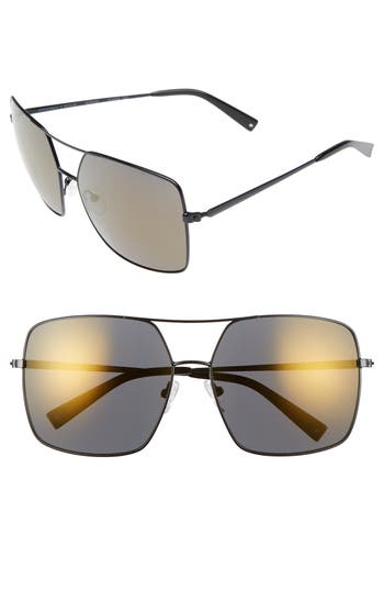 Women's Kendall + Kylie 65Mm Navigator Sunglasses - Shiny Black/ Smoke/ Gold