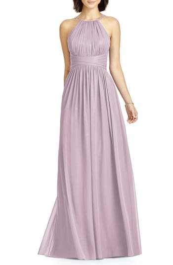 Dessy Collection Lux Chiffon Halter Gown, Purple