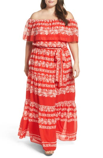 Plus Size Eliza J Off The Shoulder Maxi Dress
