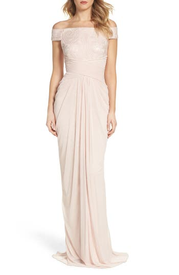 Adrianna Papell Sequin Lace & Tulle Gown, Pink