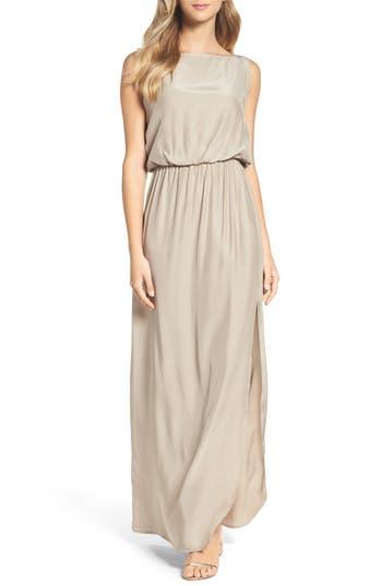 Natalie Deayala Drape Back Silk Column Gown, Beige