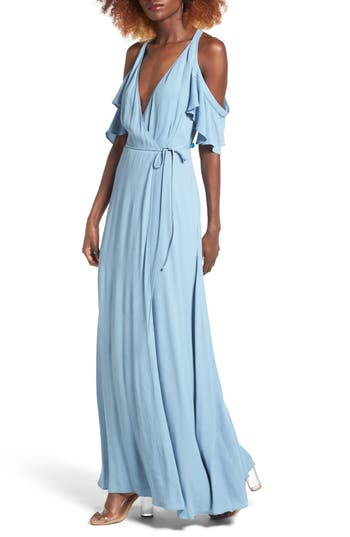 Women's Privacy Please Acme Off The Shoulder Wrap Maxi Dress, Size Small - Blue