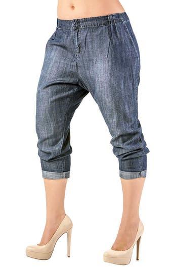 Louise Pleat Denim Crop Pants