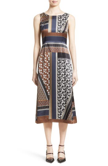 Lafayette 148 New York Sebella Silk Midi Dress, Brown