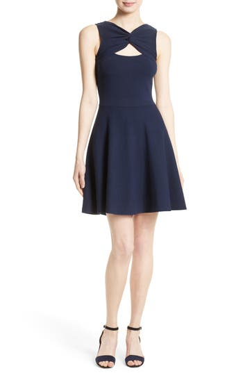 Milly Fit & Flare Knit Dress, Size Petite - Blue