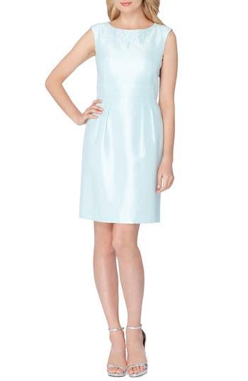 Petite Tahari Embellished Shantung Dress