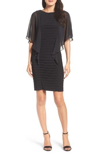 Adrianna Papell Chiffon Sleeve Banded Sheath Dress, Black