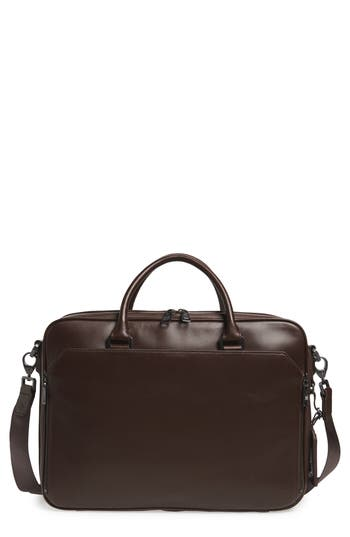Vince Camuto Turin Leather Briefcase - Brown
