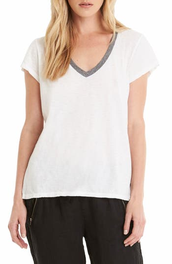 Michael Stars Contrast V-Neck Tee, Size One Size - White