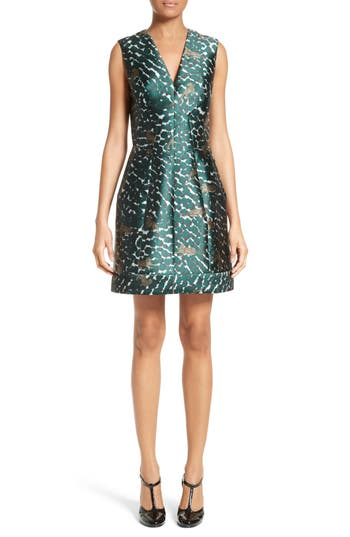 Yigal Azrouel Cheetah Print A-Line Dress, Blue/green