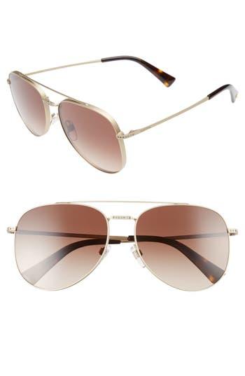 Women's Valentino 56Mm Aviator Sunglasses - Matte Gold