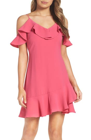 Chelsea28 Ruffle Cold Shoulder Minidress