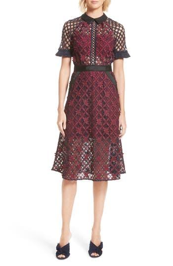 Women's Self-Portrait Floral Grid Midi Dress, Size 4 - Red