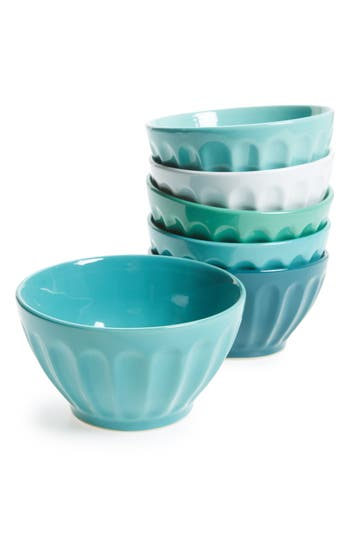 American Atelier Set Of 6 Latte Bowls, Size One Size - Blue/green