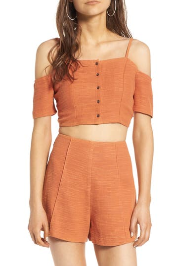 Women's Astr The Label Amalia Off The Shoulder Tank, Size X-Small - Orange