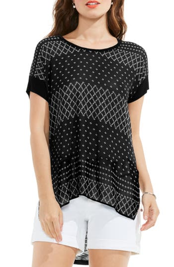 Two By Vince Camuto Delicate Dabs Mixed Media Tee, Black