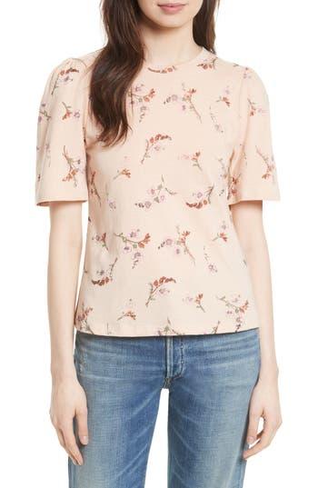 Rebecca Taylor Natalie Fleur Cotton Jersey Top, Pink