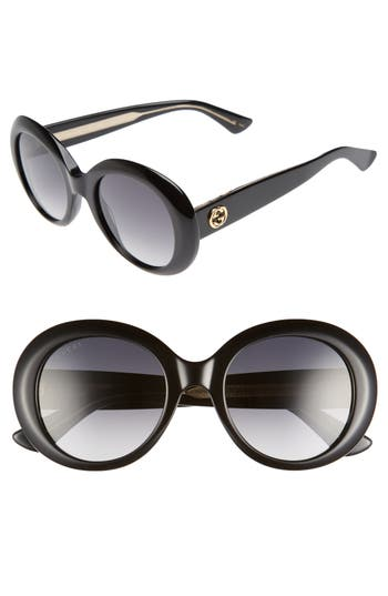 Women's Gucci 51Mm Gradient Lens Round Sunglasses - Black/ Grey Polar