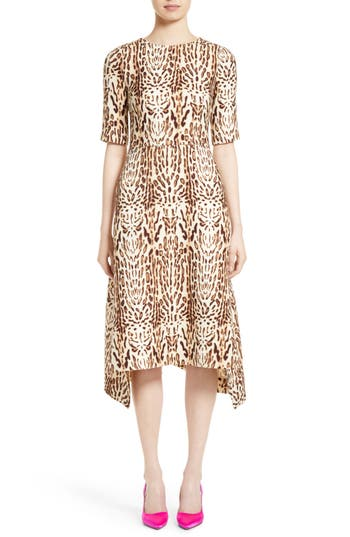 Adam Lippes Ocelot Print Wool Midi Dress