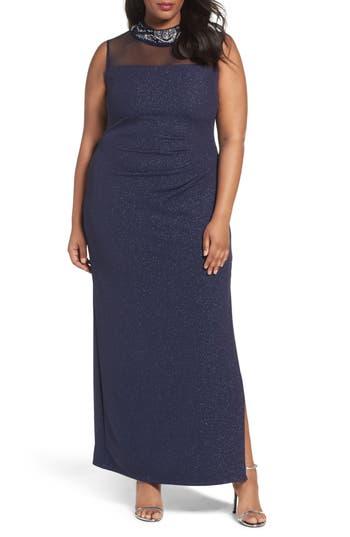 Plus Size Marina Glitter Ottoman Knit Sheath Gown, Blue