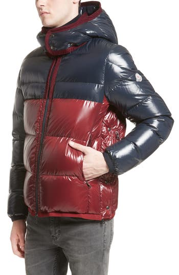 Moncler Harry Two-Tone Lacquered Hooded Down Jacket, Blue