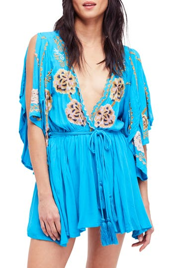 Free People Cora Embroidered Minidress, Blue/green