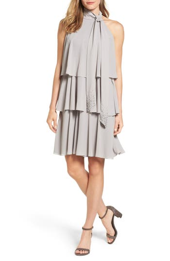 Vince Camuto Embellished Swing Dress, Grey