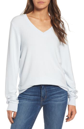 Women's Wildfox V-Neck Pullover, Size Large - Blue