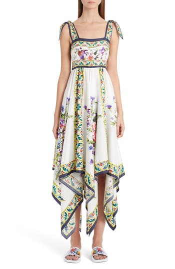 Dolce & gabbana Print Silk Handkerchief Hem Dress, US / 40 IT - White