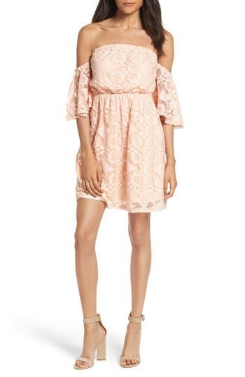 Soprano Blouson Lace Minidress, Coral