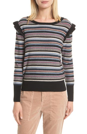 Joie Cais C Stripe Wool & Cashmere Sweater, Black