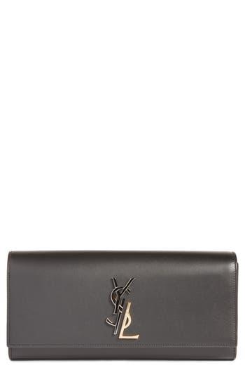 Saint Laurent Kate Deconstructed Monogram Leather Clutch - Black