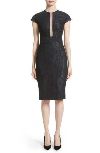 Lela Rose Shimmer Jacquard Sheath Dress, Black