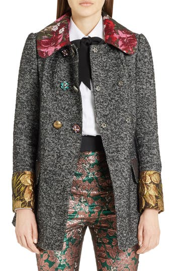 Women's Dolce&gabbana Jacquard Trim Tweed Coat