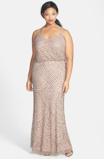 Plus Size Adrianna Papell Beaded Blouson Gown, Beige
