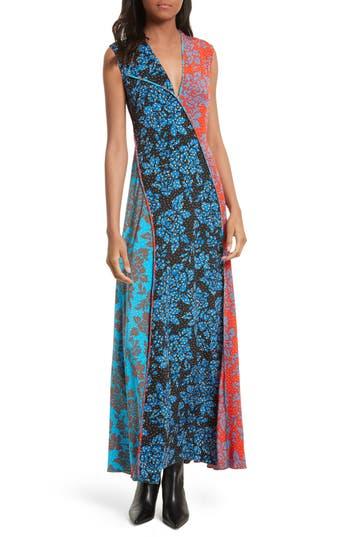 Women's Diane Von Furstenberg Paneled Print Silk Maxi Dress