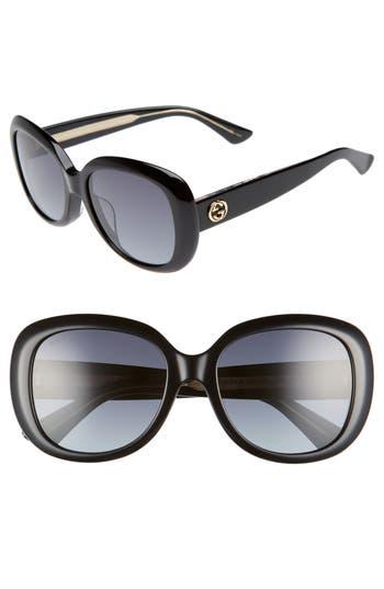Women's Gucci 55Mm Rectangular Sunglasses - Black/ Grey