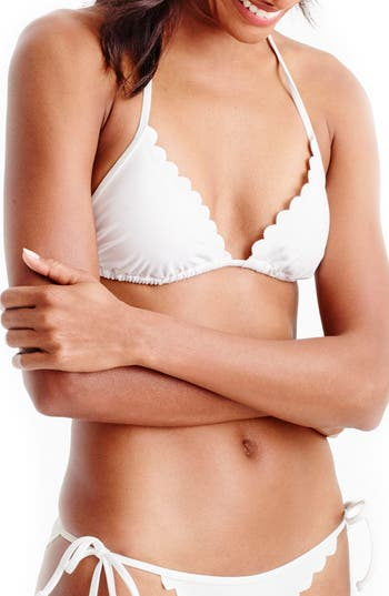 Women's J.crew Scallop Bikini Top, Size XX-Small - White