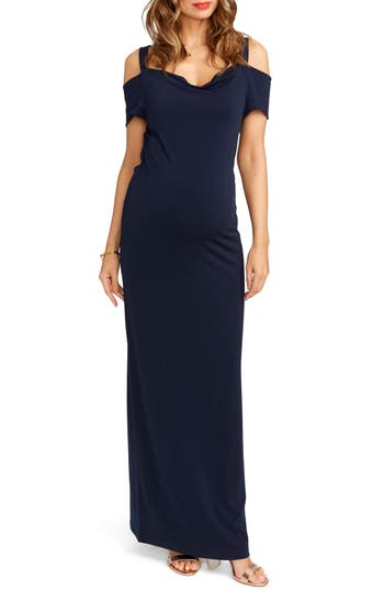 Rosie Pope Jillian Cold Shoulder Maternity Maxi Dress, Blue