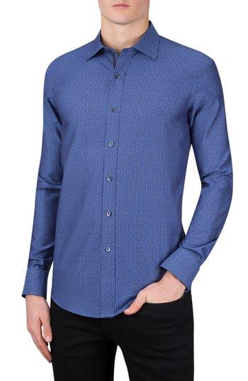 Men's Bugatchi Classic Fit Dot & Dash Print Sport Shirt