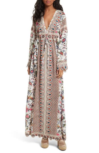 Women's Tory Burch Rosemary Lace Trim Silk Maxi Dress