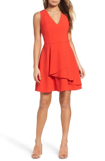 Adelyn Rae Asymmetrical Crepe Fit & Flare Dress
