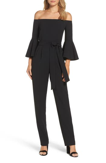 Eliza J Off the Shoulder Bell Sleeve Slim Leg Jumpsuit
