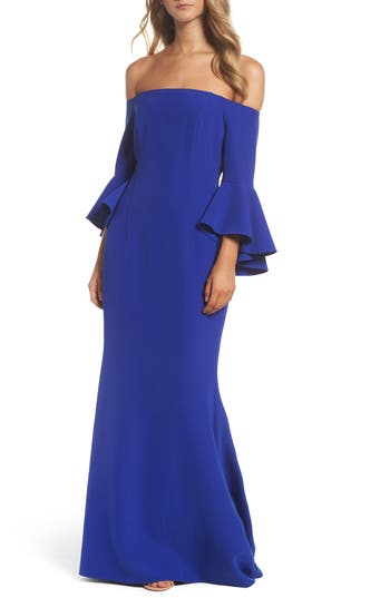 Vince Camuto Off The Shoulder Gown, Blue