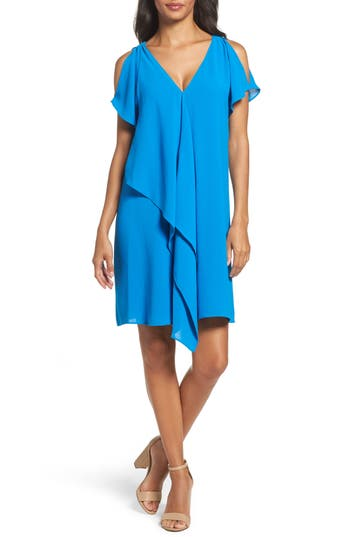 Petite Adrianna Papell Cold Shoulder Draped Shift Dress, Blue