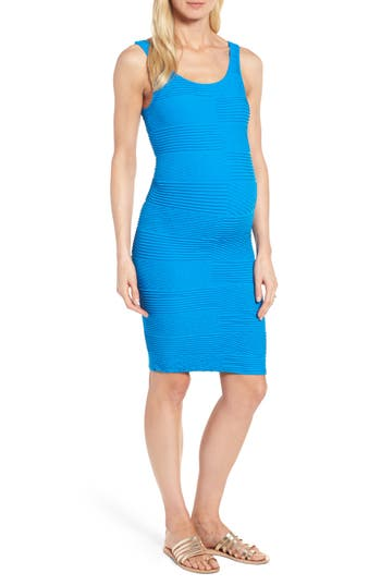 Tees By Tina Textured Tank Maternity Dress, Size One Size - Blue
