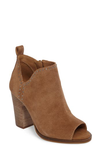 Lucky Brand Lotisha Studded Open Toe Bootie, Beige