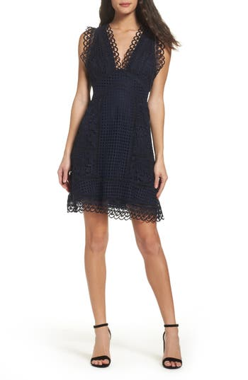 French Connection Zahra Fit & Flare Dress, Blue