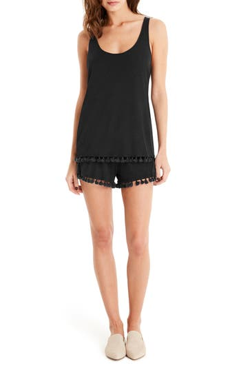Michael Stars Fringe Trim Layered Romper, Black