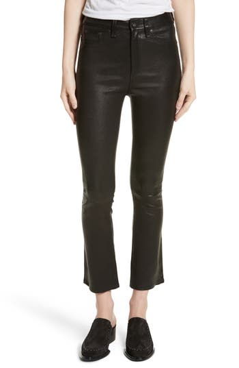 Rag & Bone/jean Hana Crop Flare Leather Pants, Black